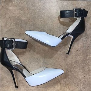 Michael Kors Black and White Pointed Toe Heels